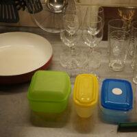 Pfanne, Gläsersätze, Aufbewahrungsboxen